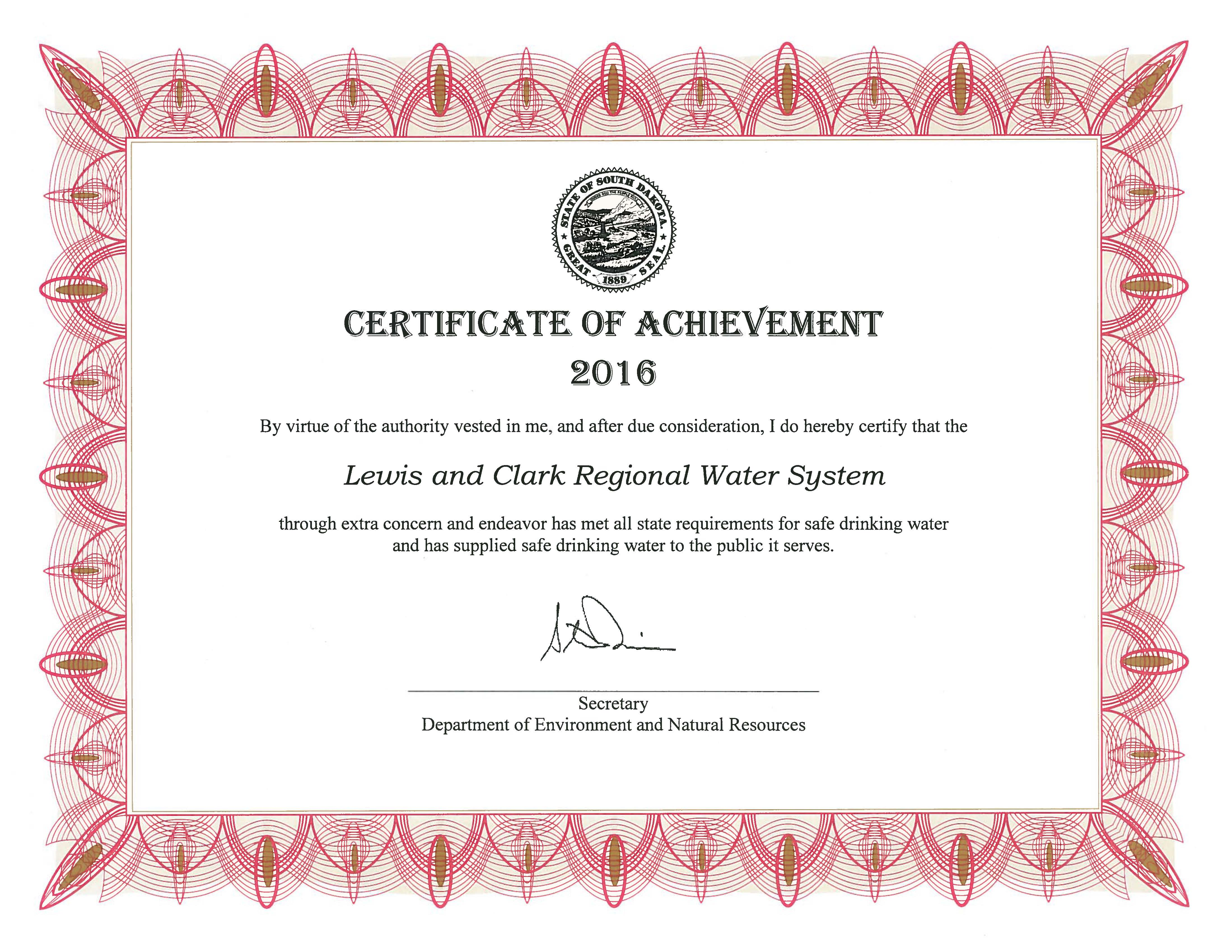 Certificate of achievement received from sd denr lewis and clark lewis clark has received the south dakota department of environment and natural resources 2016 drinking water certification of achievement award 1betcityfo Image collections