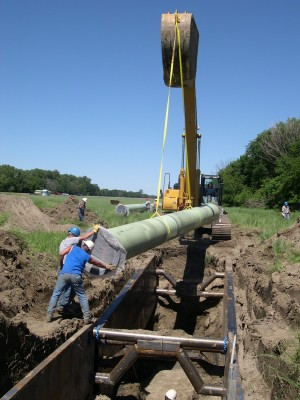 Very first pipe installed (30 inch pipe on Raw Water Pipeline - Segment) on June 14, 2004