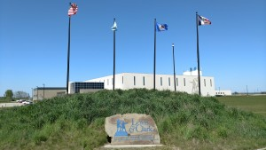 Sign and Flags at the Water Treatment Plant