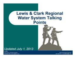 Lewis and Clark Regional Water System | Talking Points / Press Kit